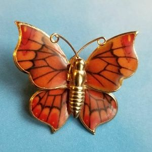 Vintage Butterfly Brooch Orange Gold tone Pin bug